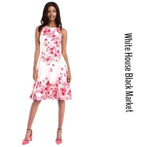 WHBM  FLORAL PRINTED SCUBA  FIT & FLARE DRESS